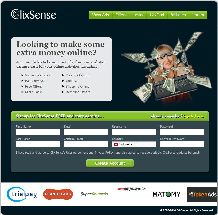 Clixsense_AlternativeScren