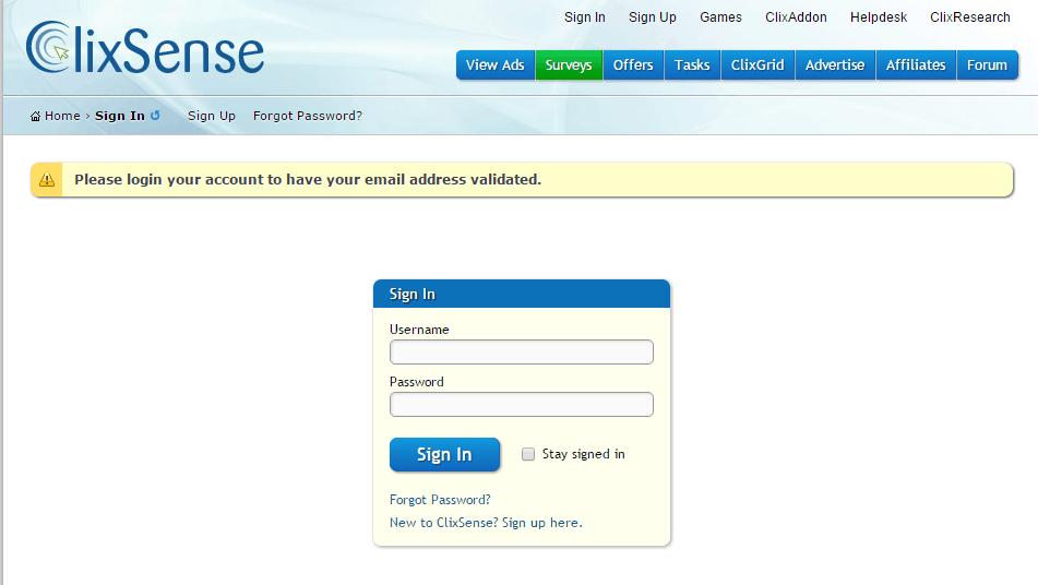 ClixSense_FirstLogin_Validate