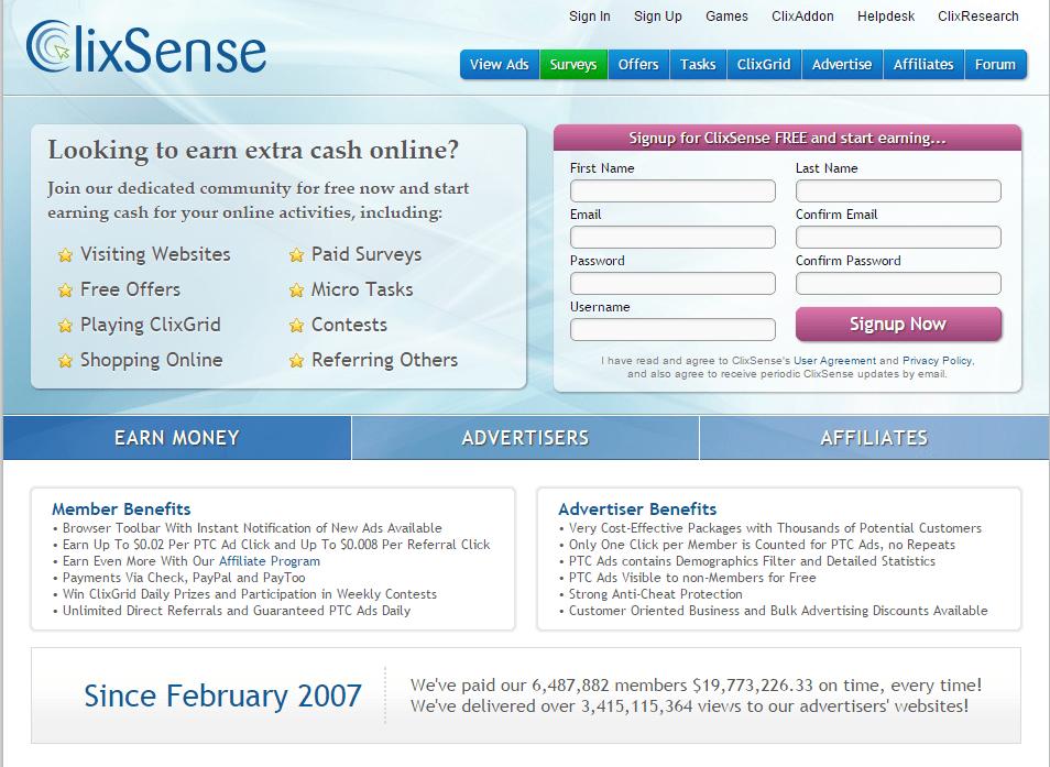 ClixSense_HomeScreen