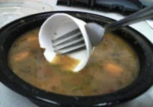 cap and spoon used as chinese soup spoon