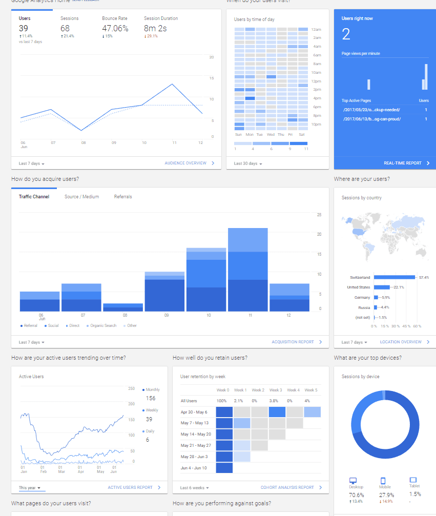 Google Analytics Holbizmetrics stats